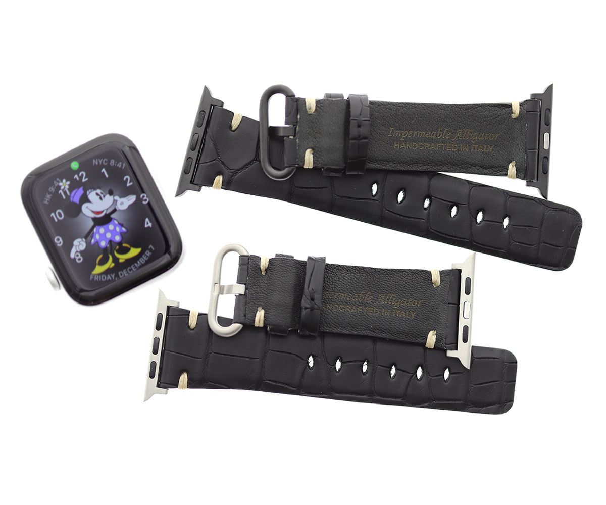 Black Hydro Alligator Leather strap for Apple Watch 44mm, 42mm, 40mm, 38mm (All generations) Ecru stitching