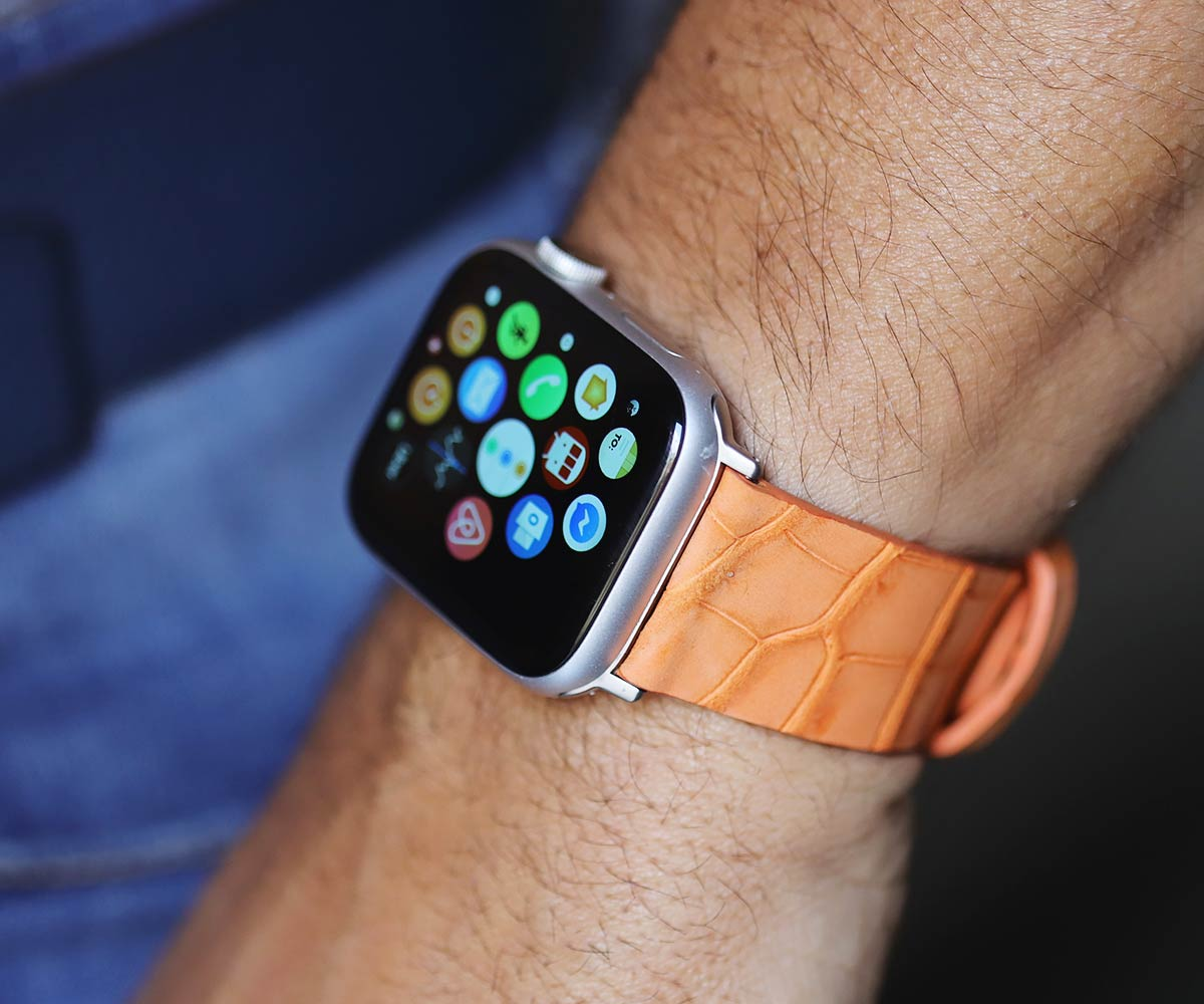 Exclusive Orange Suede Nubuck Double Alligator Racer strap Apple Watch 44mm, 42mm style