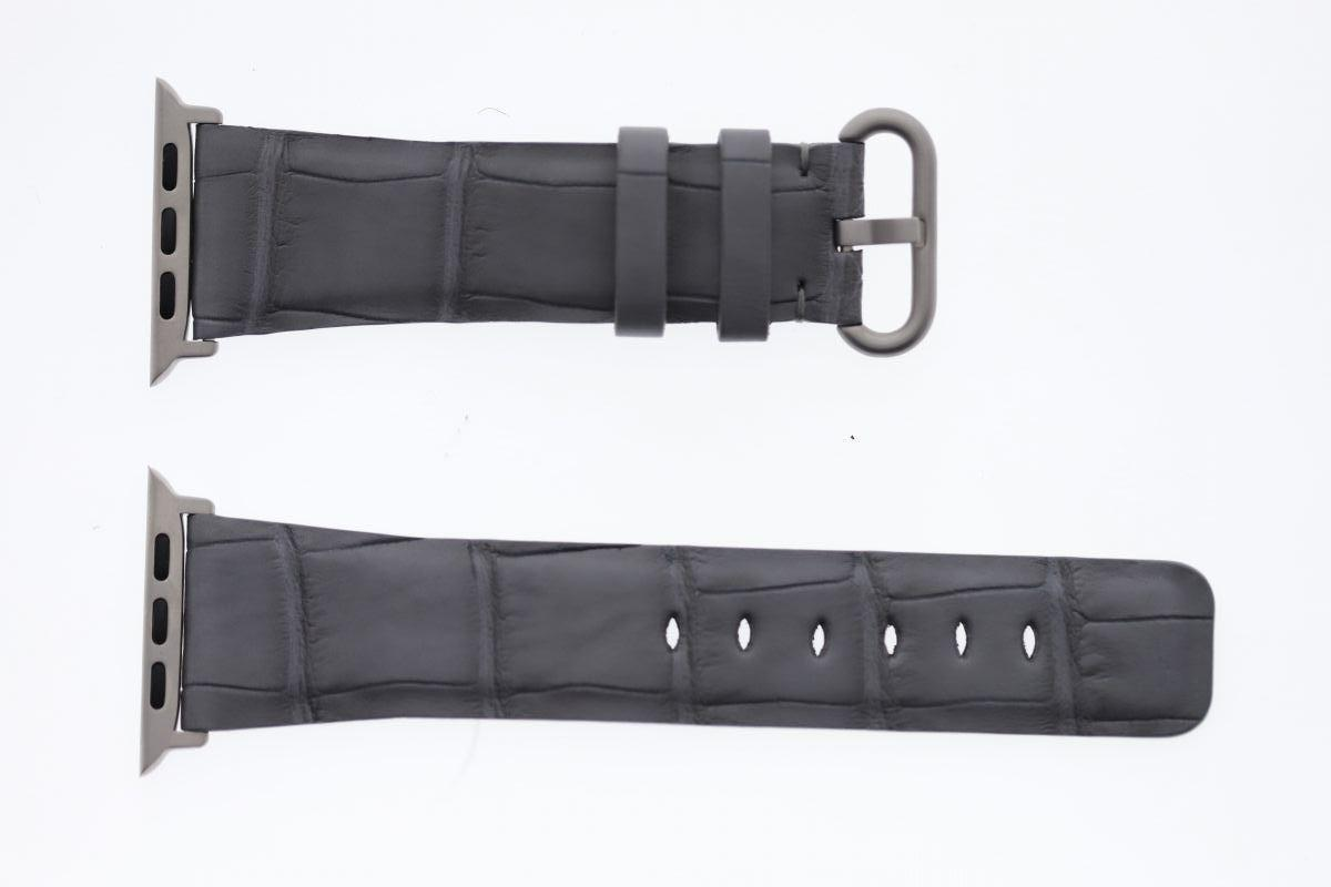 Xanadu Grey Matte Alligator leather Apple Watch Strap 44mm, 42mm (All generations)