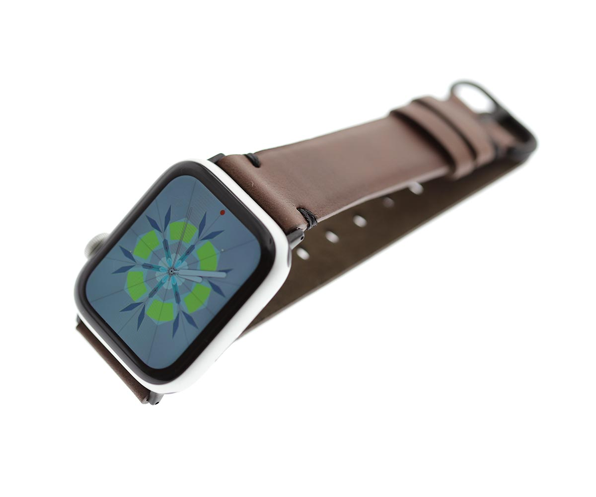 Cigar Brown strap for 44mm, 42mm case (Apple Watch All Series) in Barenia / Luxury Hermes French calf leather