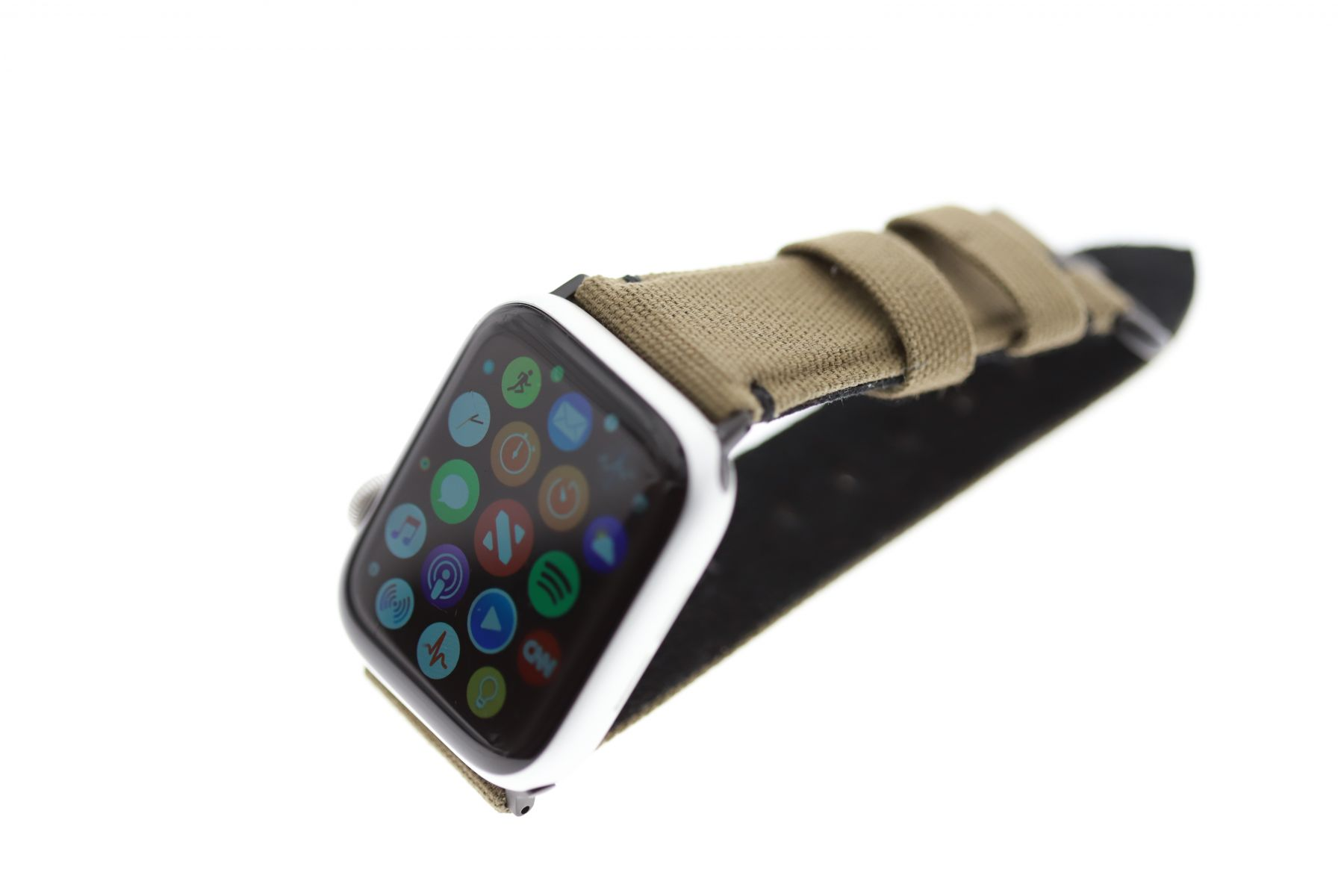 Military Green Canvas strap Vegan style for 44mm, 42mm case (Apple Watch Series 1, 2 & 3, 4)
