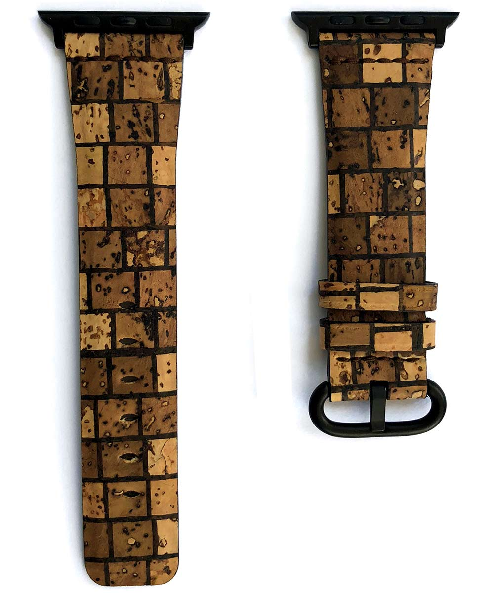 Natural Cork strap 24mm for Apple Watch 44mm, 42mm. Vegan style. Chess pattern. All Series