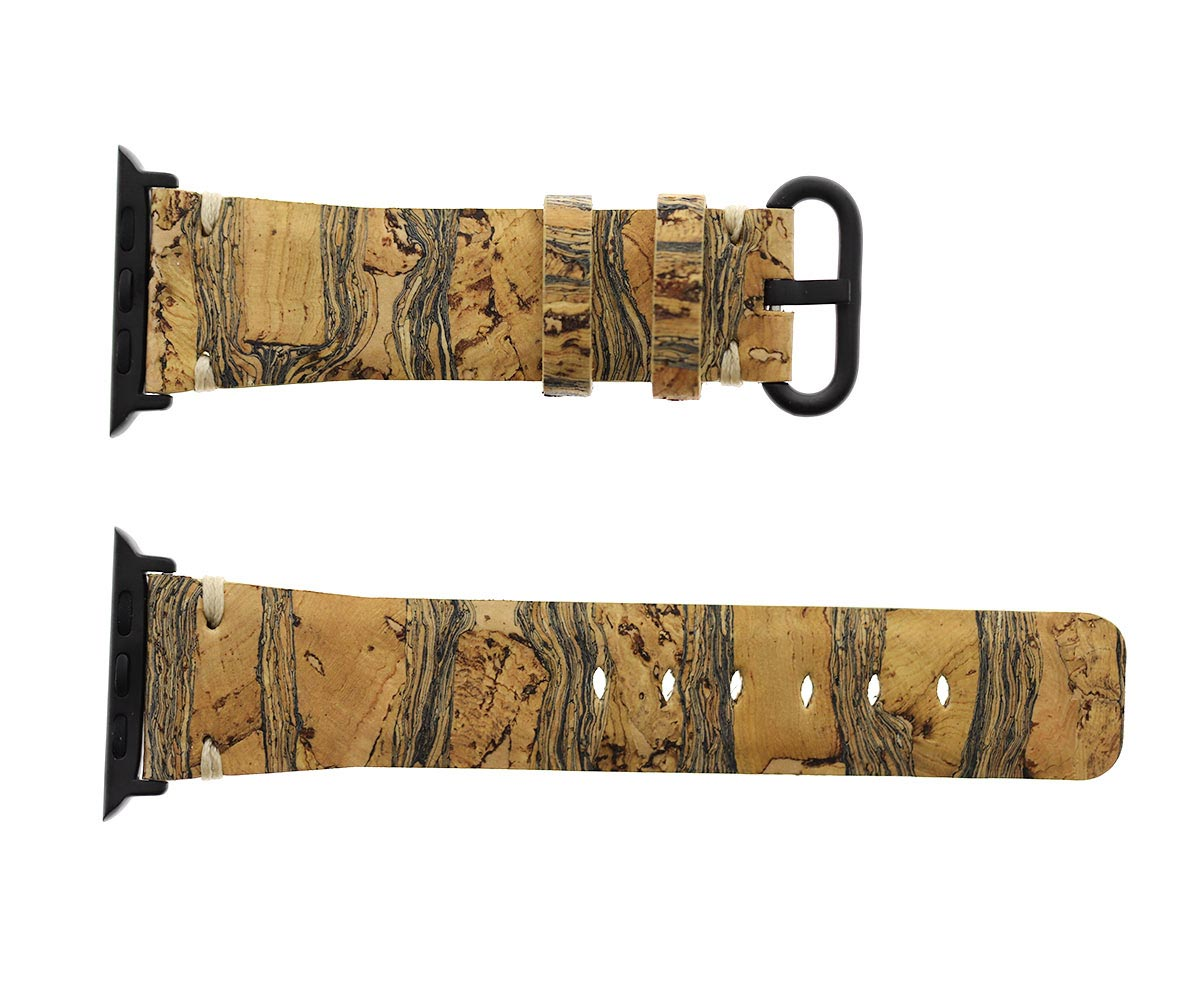Natural Cork strap 24mm for Apple Watch 44mm, 42mm. Vegan style. Leaves pattern. All Series