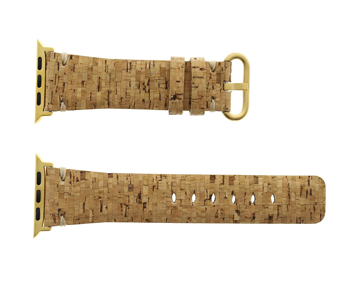 Natural Cork strap 24mm for Apple Watch 44mm, 42mm. Vegan style. Lime pattern. All Series