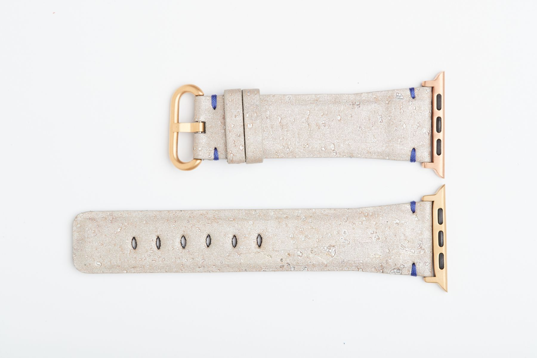Silver Grey Natural Cork strap for 44mm, 42mm case (Apple Watch All Series). Vegan style