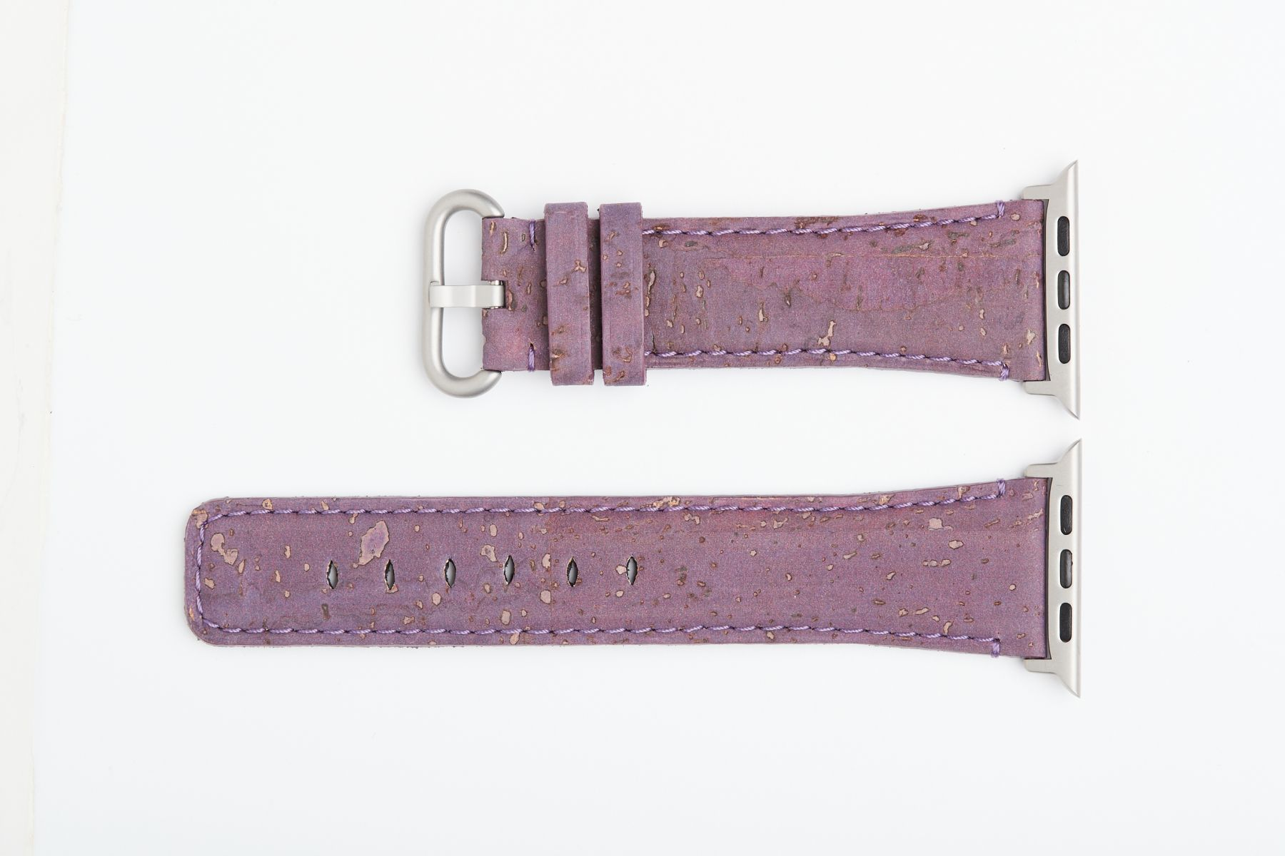 Violet Pear Natural Cork strap 24mm for 44mm, 42mm case (Apple Watch All Series). Vegan style.