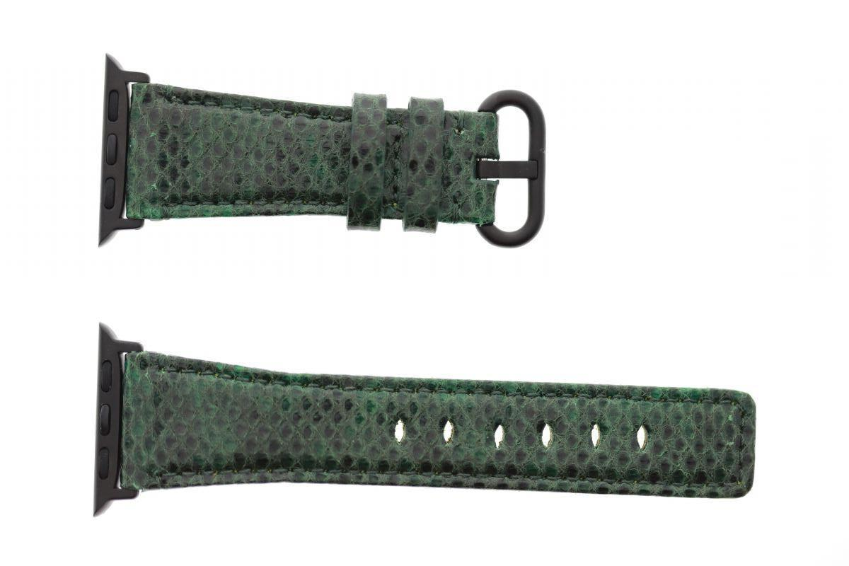 Emerald Green Exotic Karung Snake Leather Apple Watch Strap 44MM, 42MM (All generations)