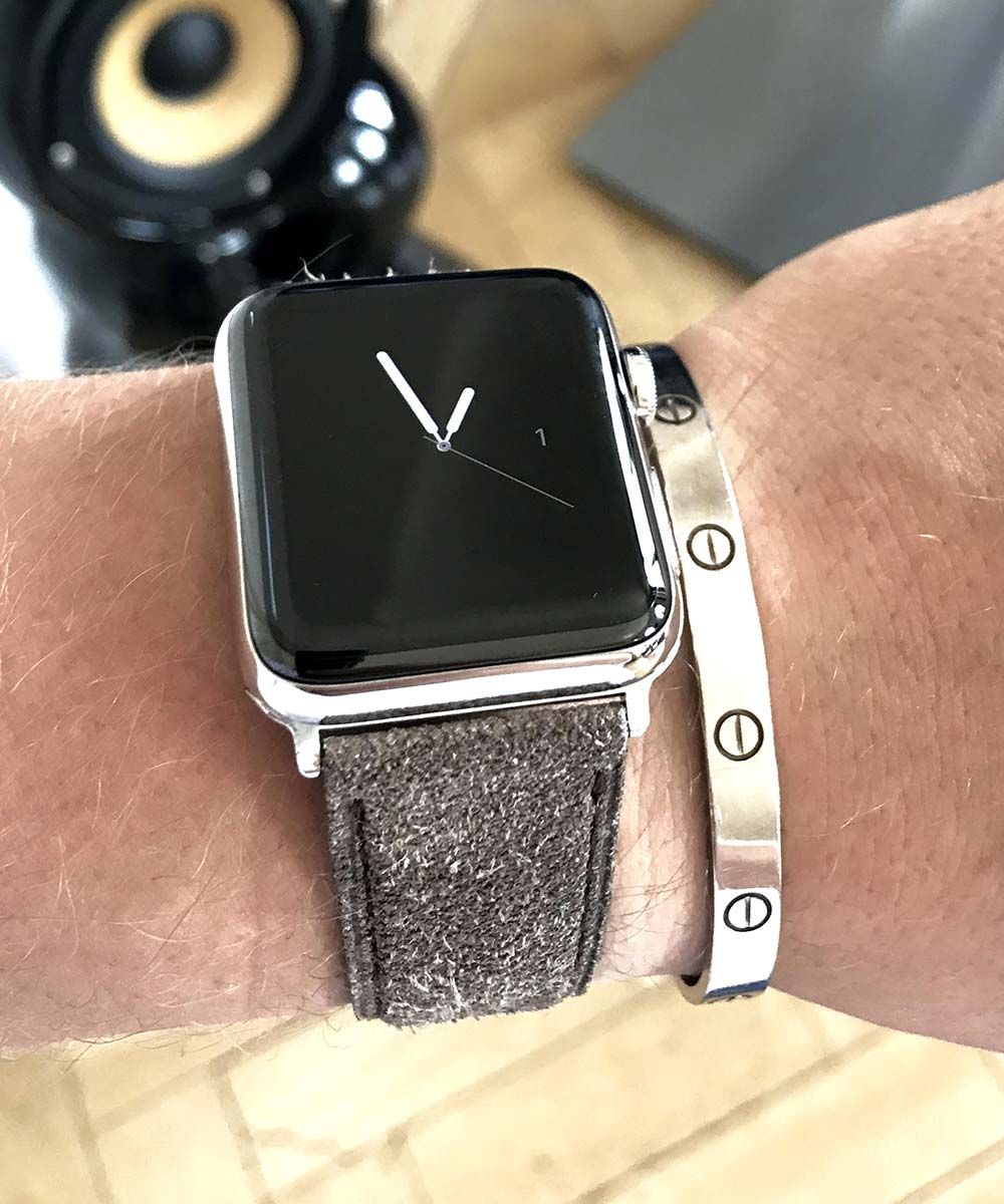 Suede Kudu Antelope leather band Apple Watch 44mm, 42mm H. Moser & Cie Swiss Alp style