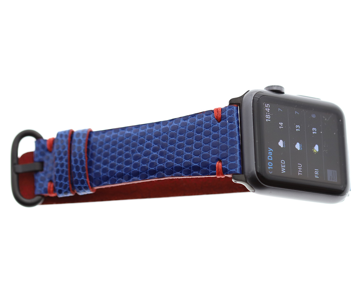 Electric Blue Lizard Leather Apple Watch Strap 44m, 42mm (All generations)