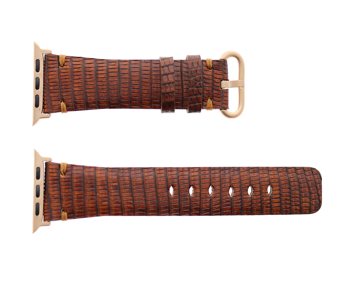 Cognac Brown Lizard Leather Apple Watch Strap 44m, 42mm (All generations)