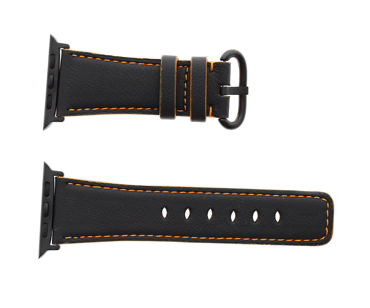Vegan Leather Strap (Apple Watch All Series) / BLACK