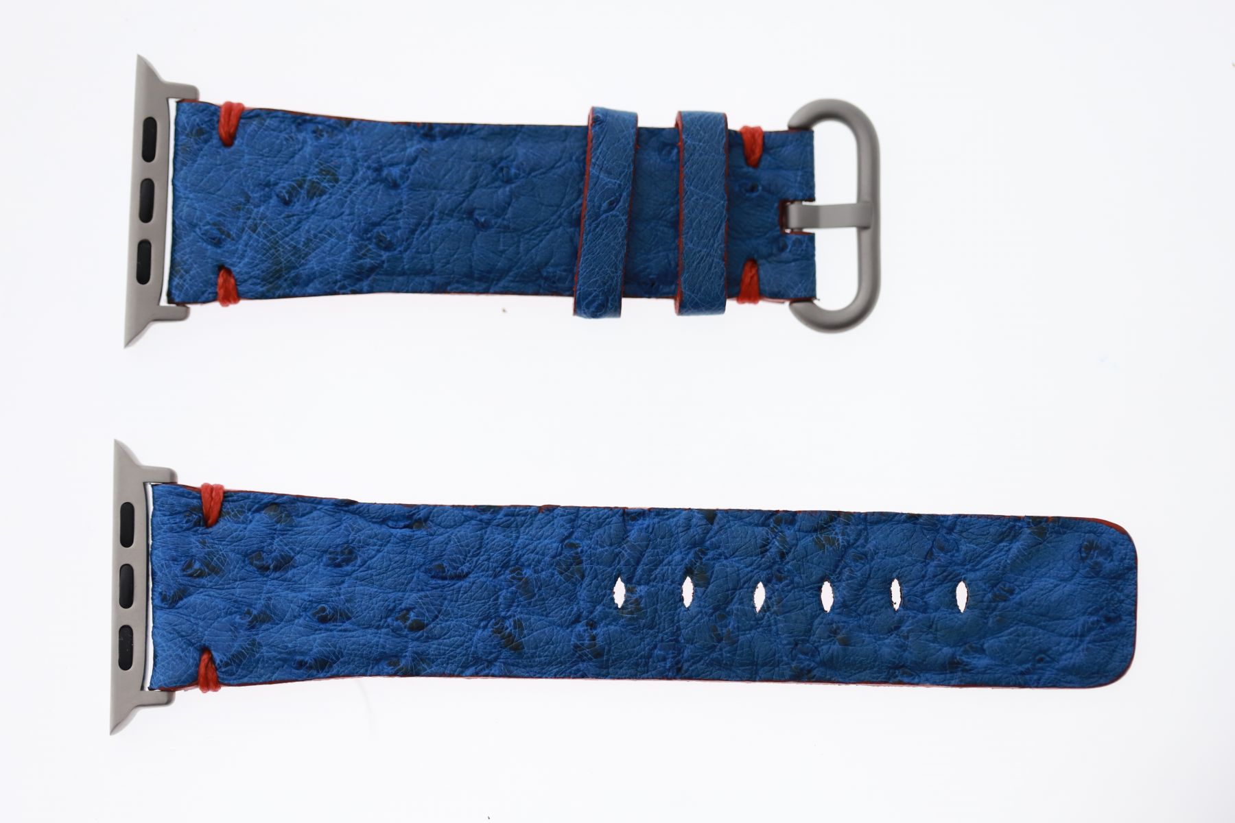Blue Vincent Ostrich leather Apple Watch Strap 44mm, 42mm (All generations)
