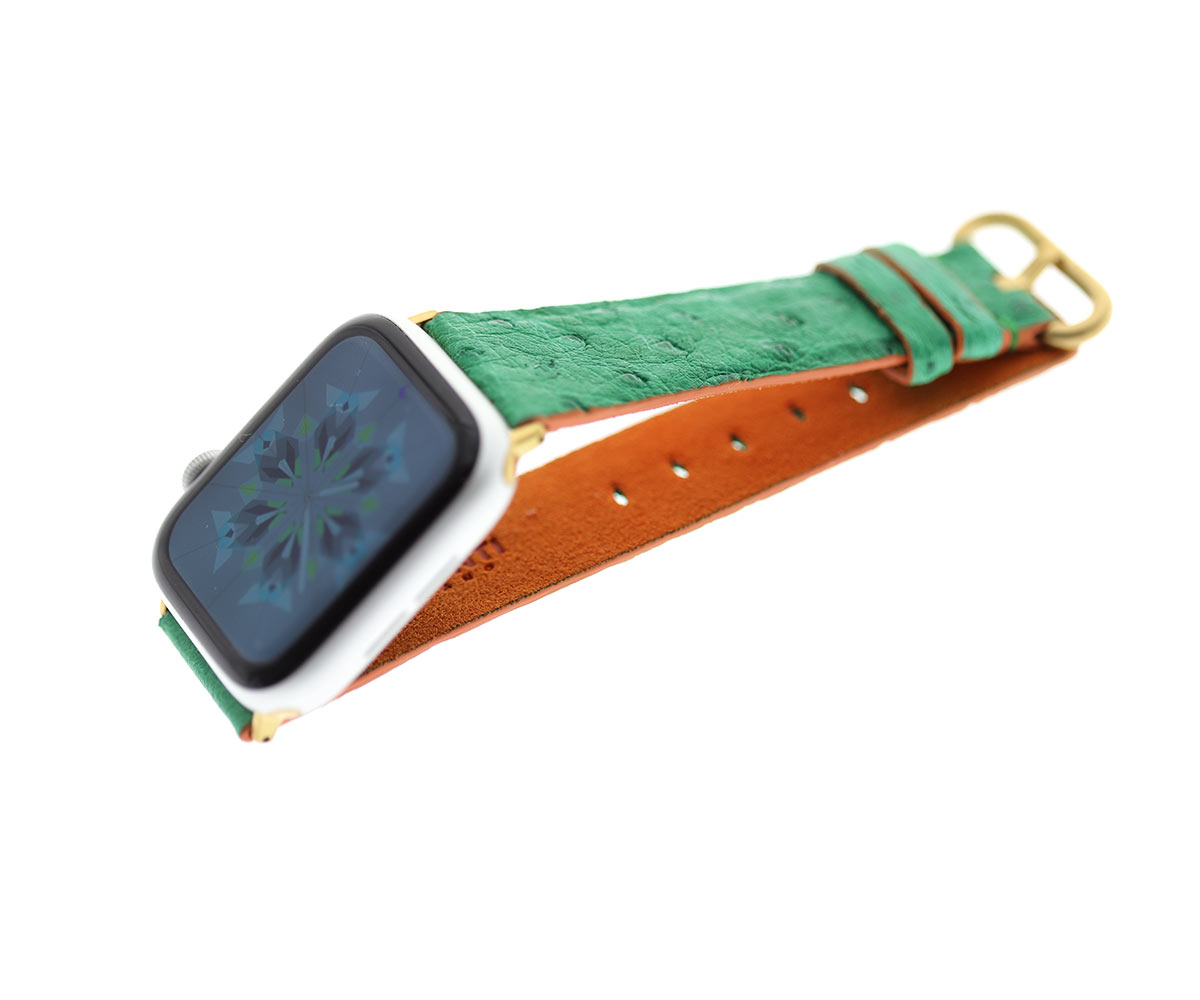 Spring Green Ostrich Apple Watch Strap 44mm, 42mm