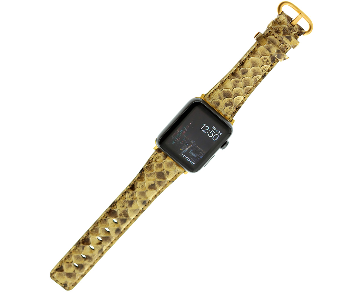 Beige Python Leather Apple Watch Strap 44mm, 42mm (All generations)