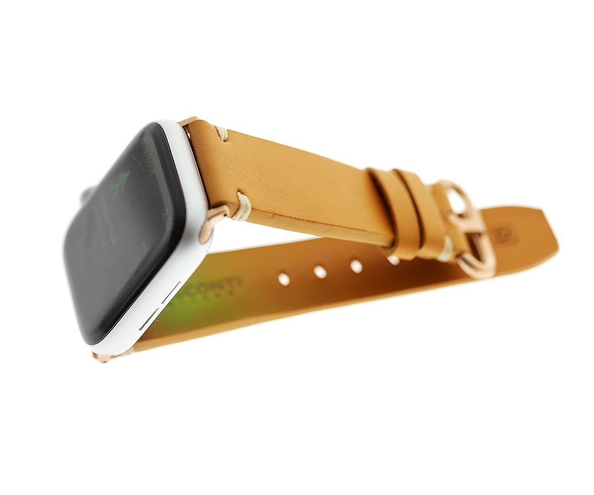 Beige strap for 44mm, 42mm case (Apple Watch All Series) in water resistant Scotchgard treated calf leather