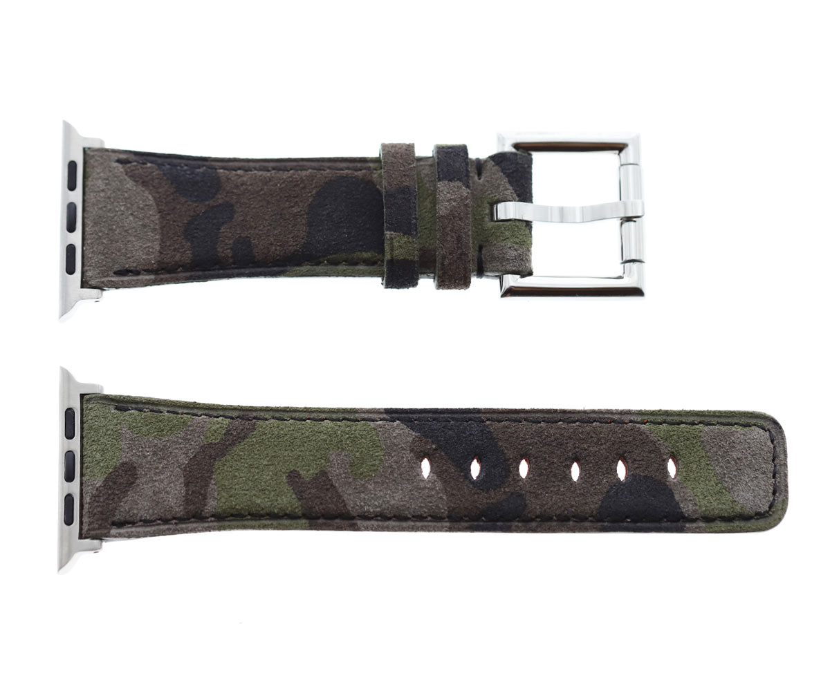 Strap in Camouflage / Mimetic suede leather with Fixed Buckle for 44mm, 42mm case (Apple Watch All Series)