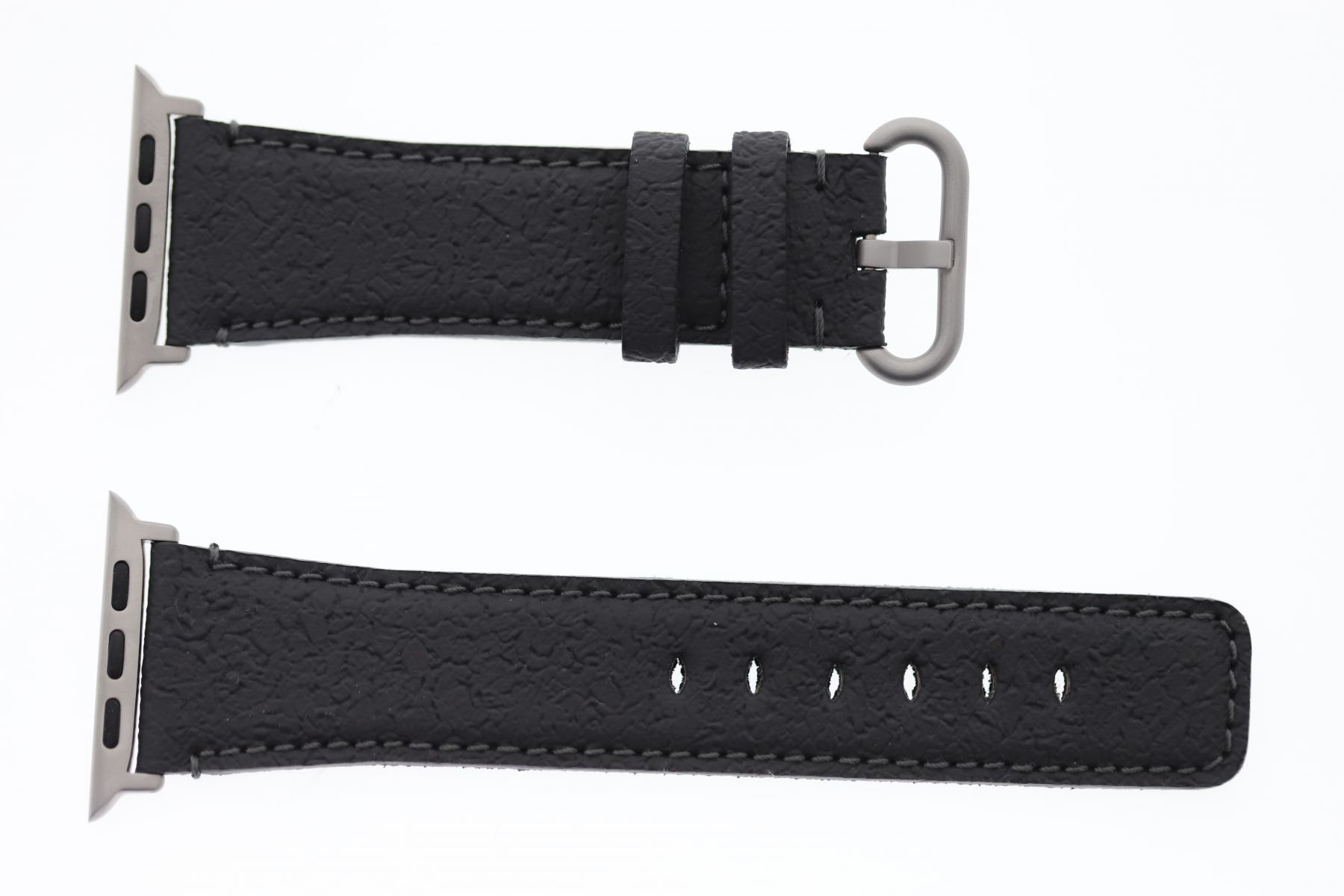 Textured Vegan Leather Strap (Apple Watch All Series) / GUNMETAL GREY