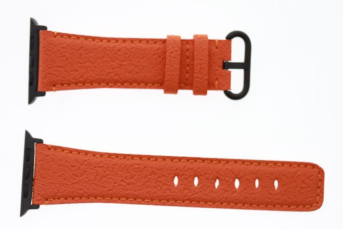 Textured Vegan Leather Strap for 44mm, 42mm case (Apple Watch All Series) / ORANGE