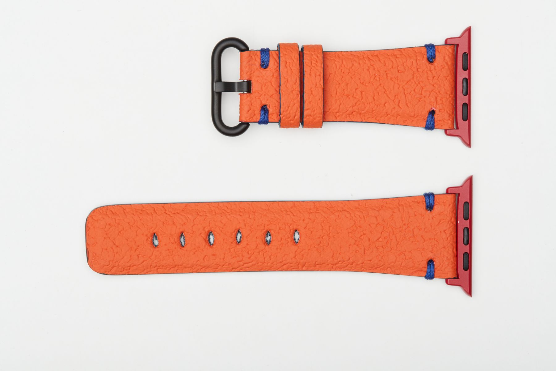 Orange Italian Vegan Textured Leather Strap for 44mm, 42mm case (Apple Watch All Series). Blue presile stitching. Vegan Style.