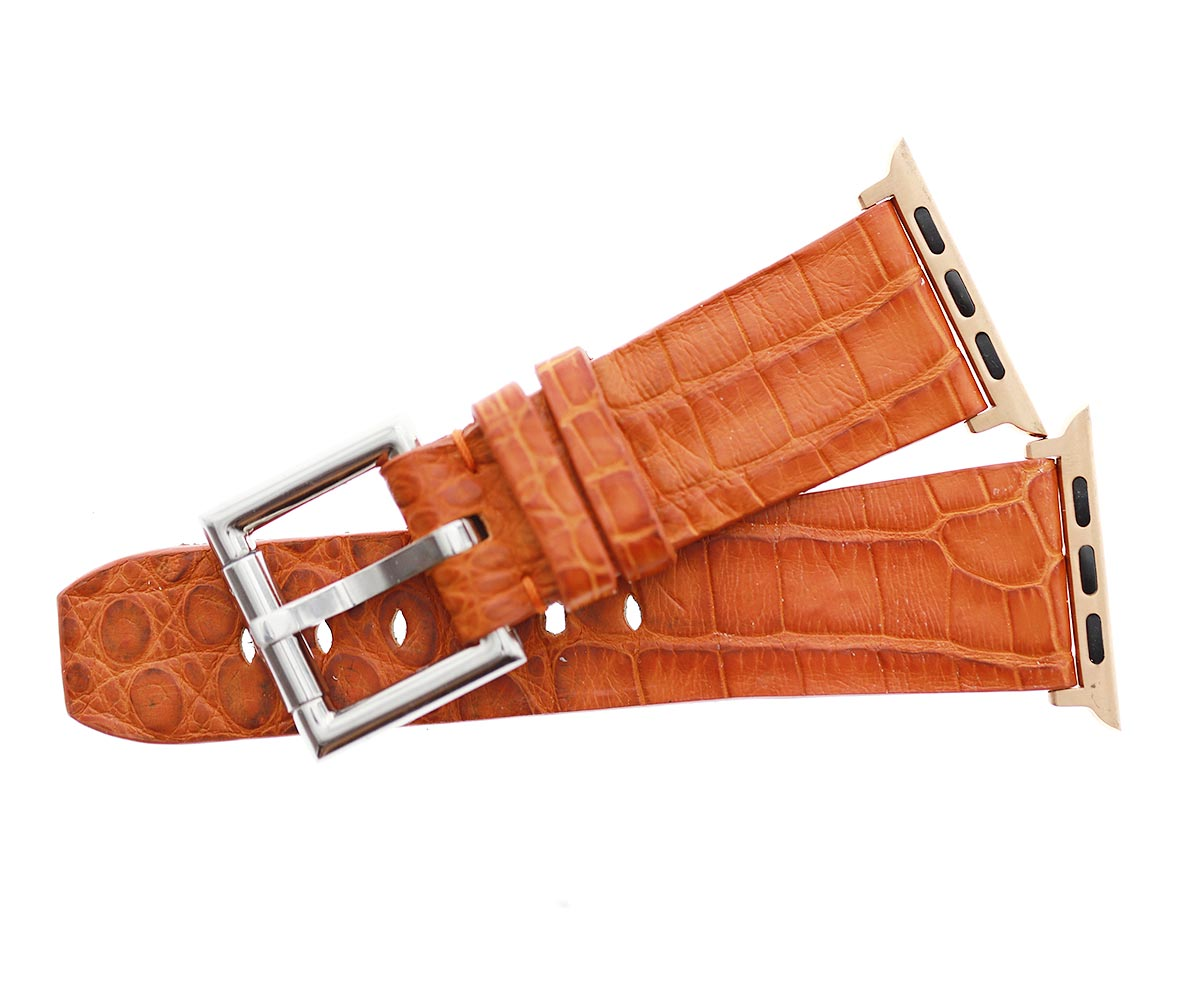 Exotic Orange Caiman leather strap for Apple Watch 44mm, 42mm with Fixed buckle