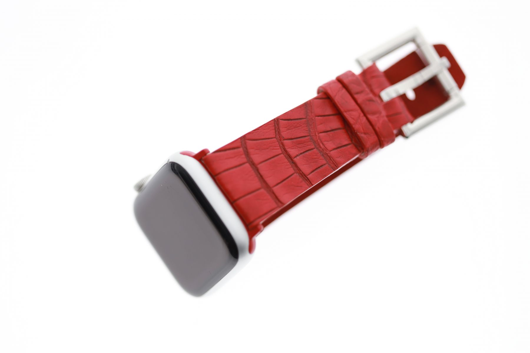 Red Flame Caiman leather strap for Apple Watch with Fixed buckle (All Generations)