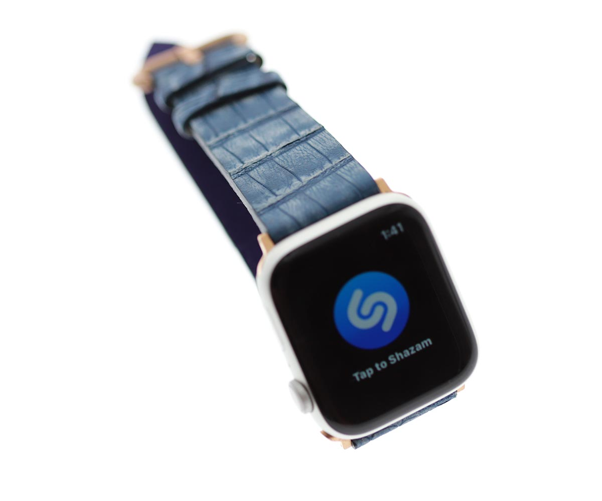 Portofino Blue Nubuck Caiman leather strap for Apple Watch Strap 44mm, 42mm (All generations)
