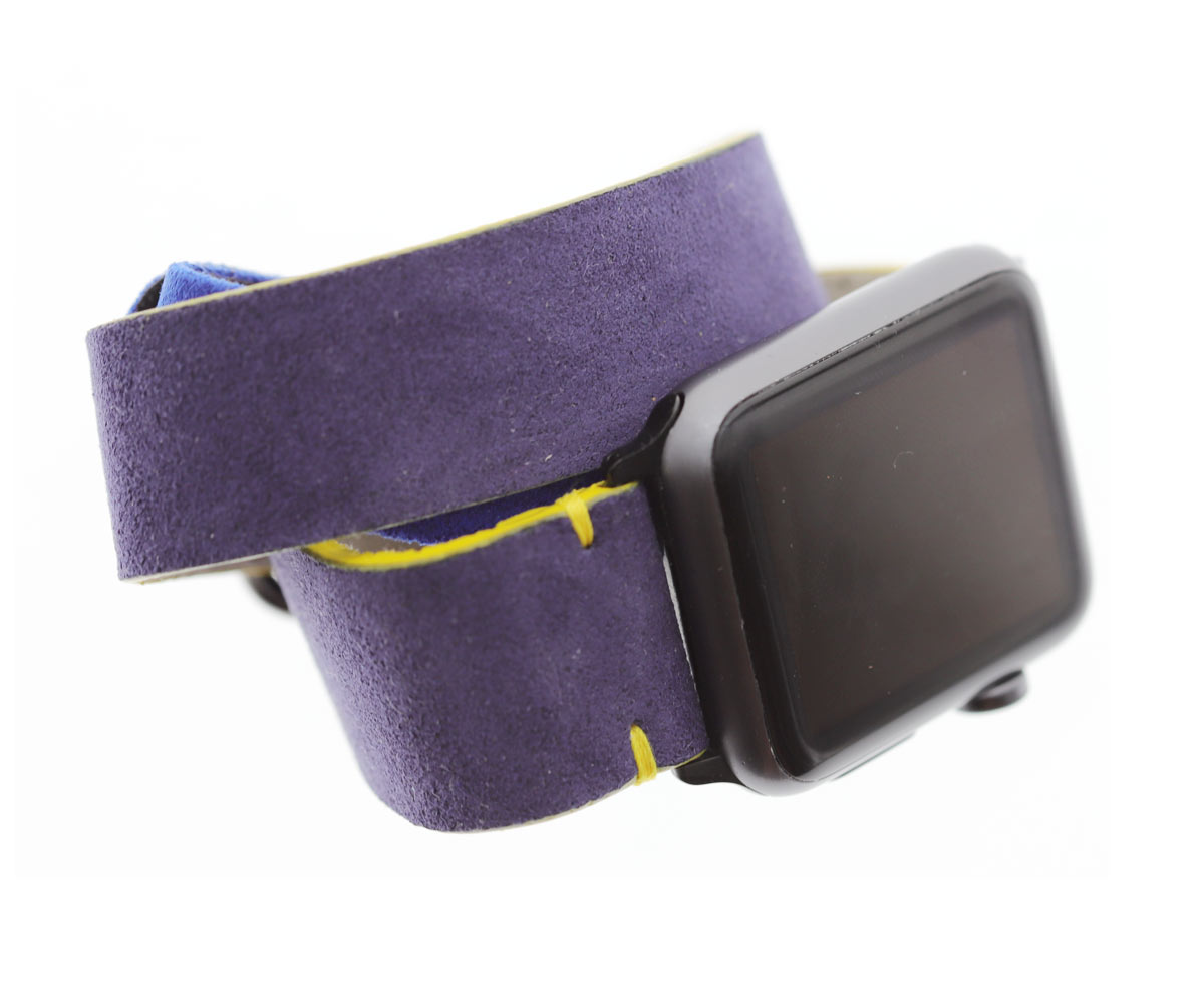 Apple Watch Double Turn Bracelet in Provence Violet Italian Alcantara (All case sizes and Generations). Vegan Style