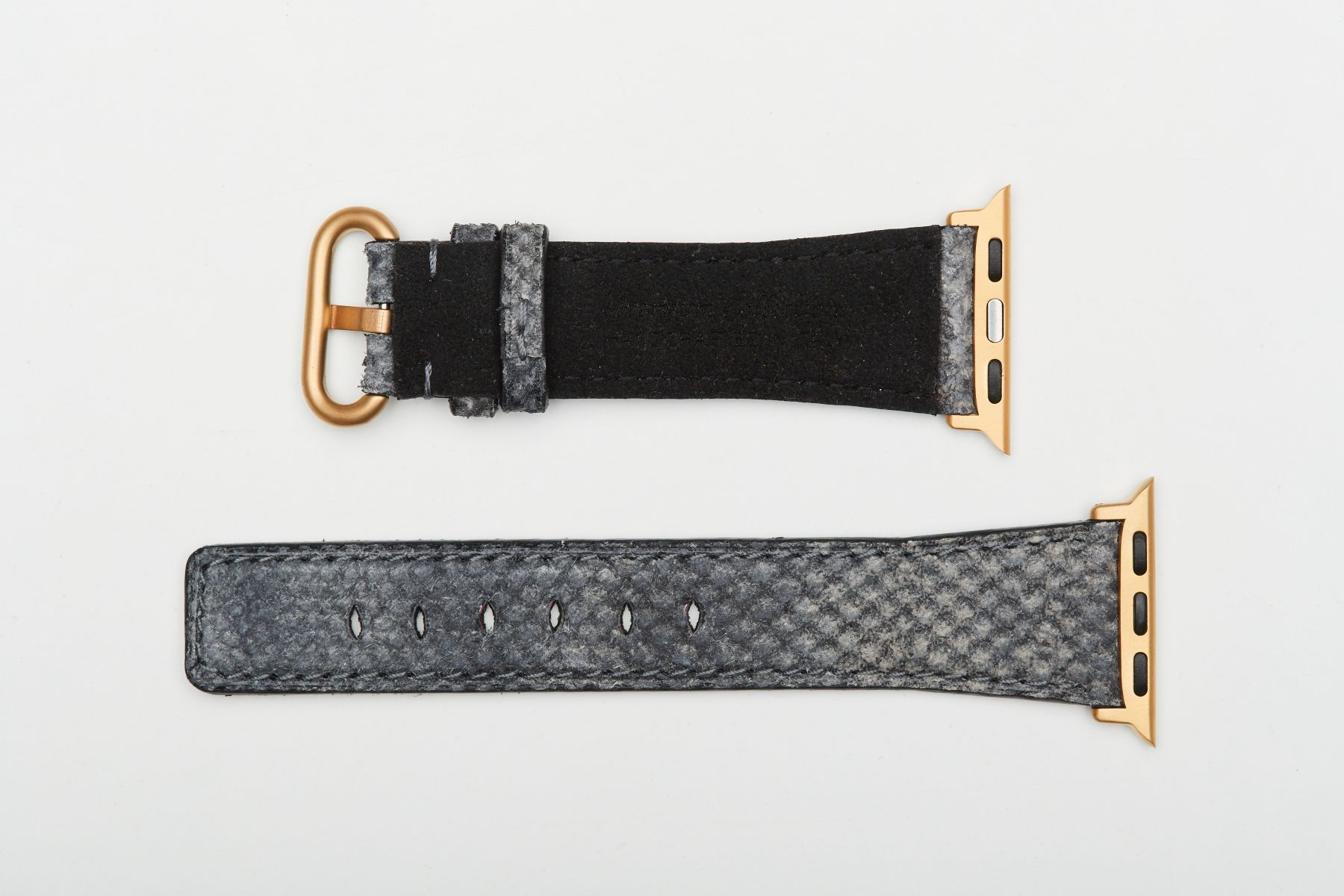 Grey Suede Exotic Karung Reverse Snake leather strap Strap for Apple Watch (All Series, All sizes). Regular stitching.
