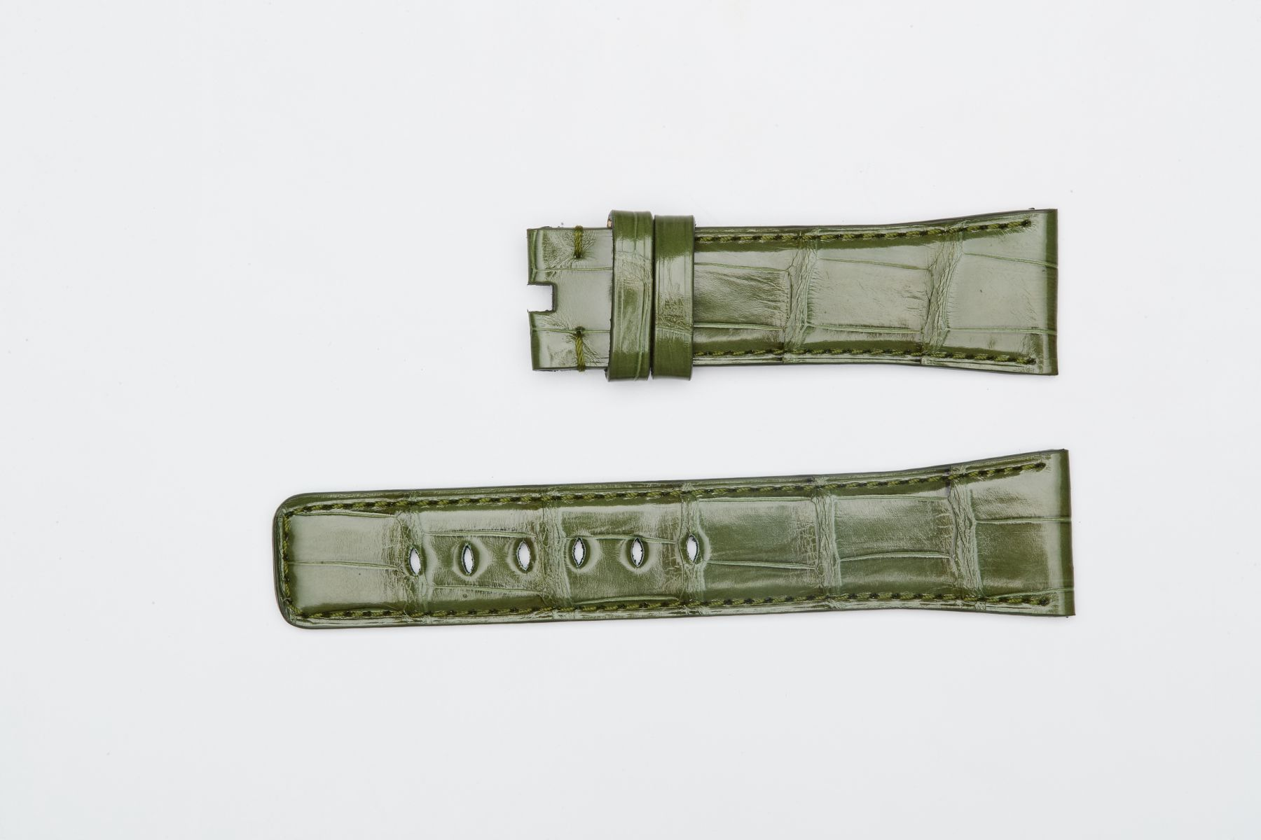 Alligator Leather strap for Apple Watch (All series) / VINTAGE GREEN