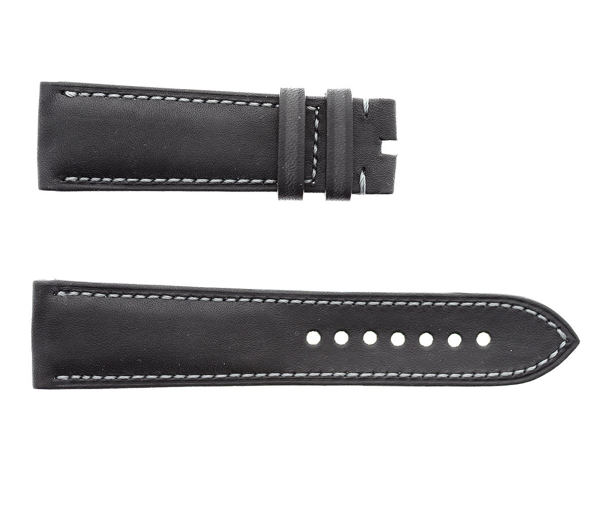 Custom Strap 23mm For Blancpain Fifty Fathoms in Black Barenia / Luxury Hermes French Equestrian leather