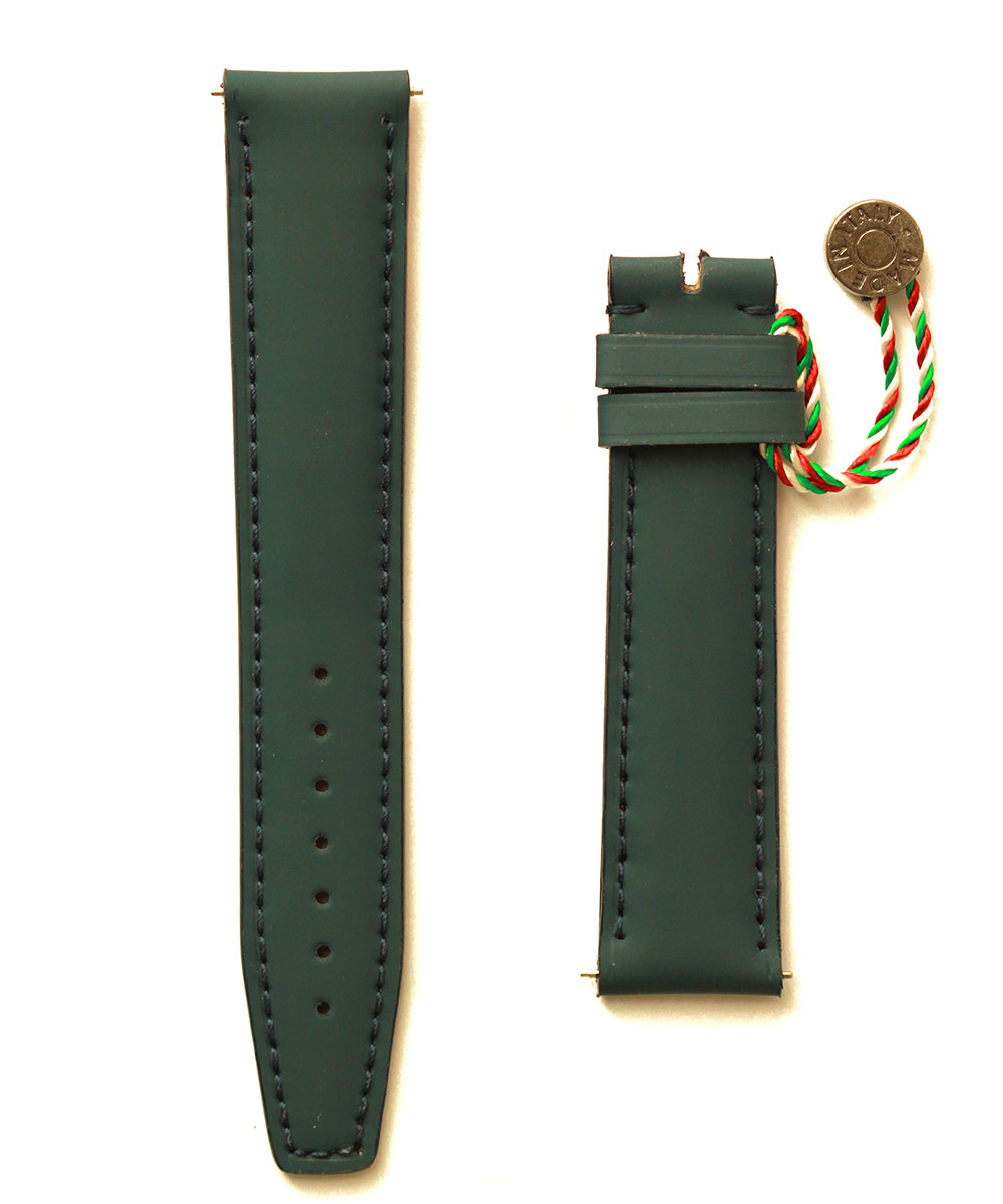 Green Rubberized leather strap 20mm Seiko style