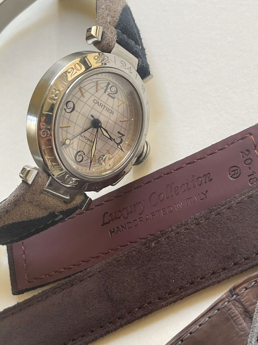 Chocolate Brown Alcantara strap 20mm for Cartier Pasha 35mm case timepieces