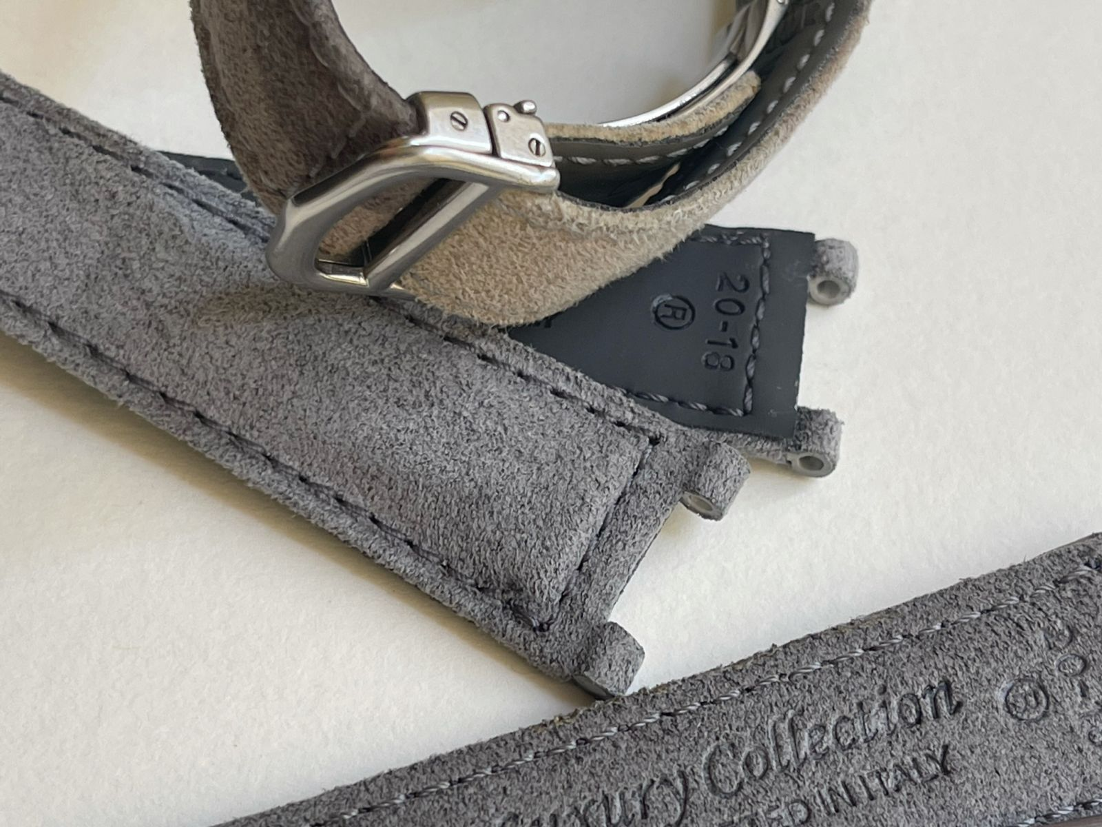 Grey Fume Alcantara strap 20mm for Cartier Pasha 35mm case timepieces