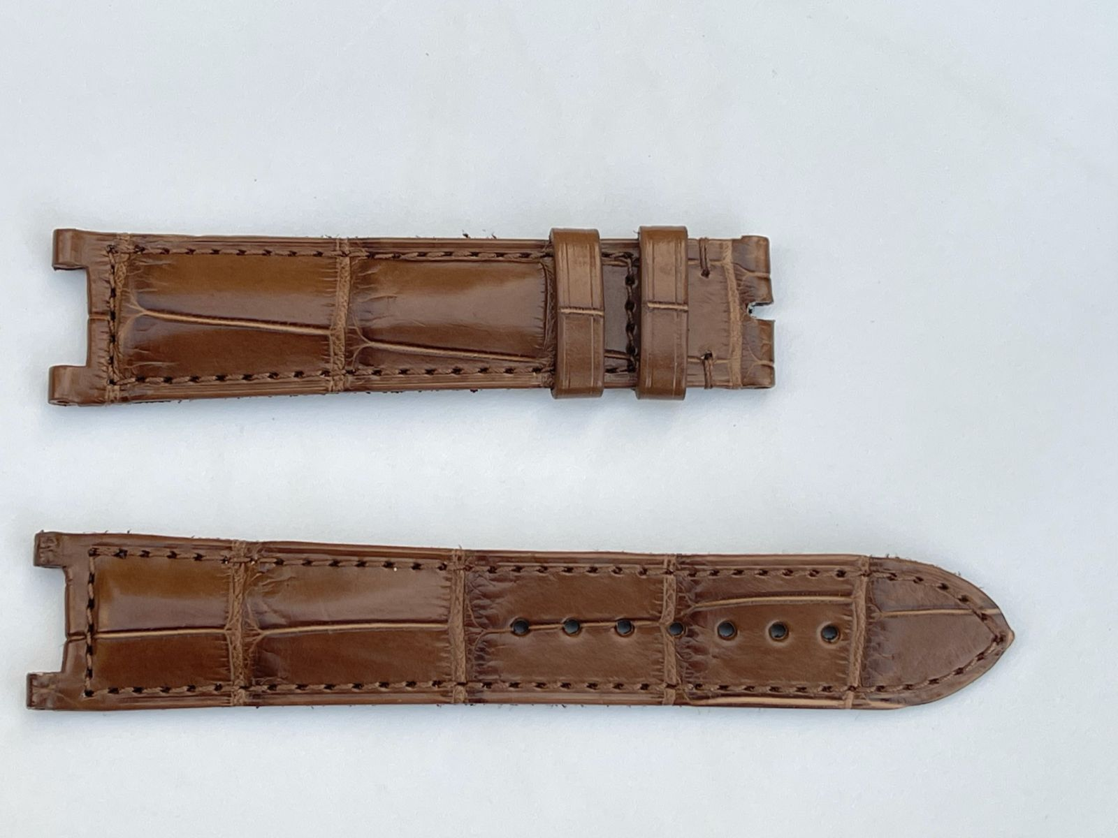 Mocca Brown Matte Alligator leather strap 20mm for Cartier Pasha 35mm case timepieces