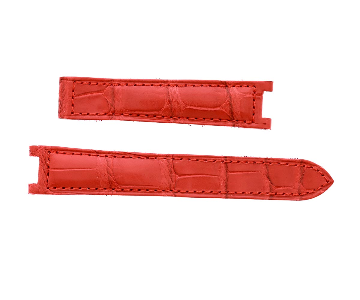 Custom made Cartier Pasha 35mm style watch strap in Matte Red Alligator Leather