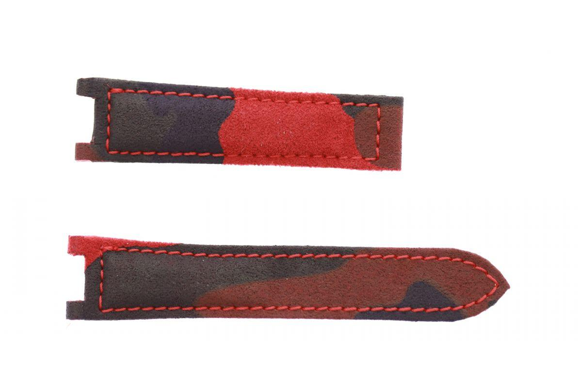 Red Flame Acapulco Camouflage Alcantara strap 18mm for Cartier Pasha 35mm case timepieces