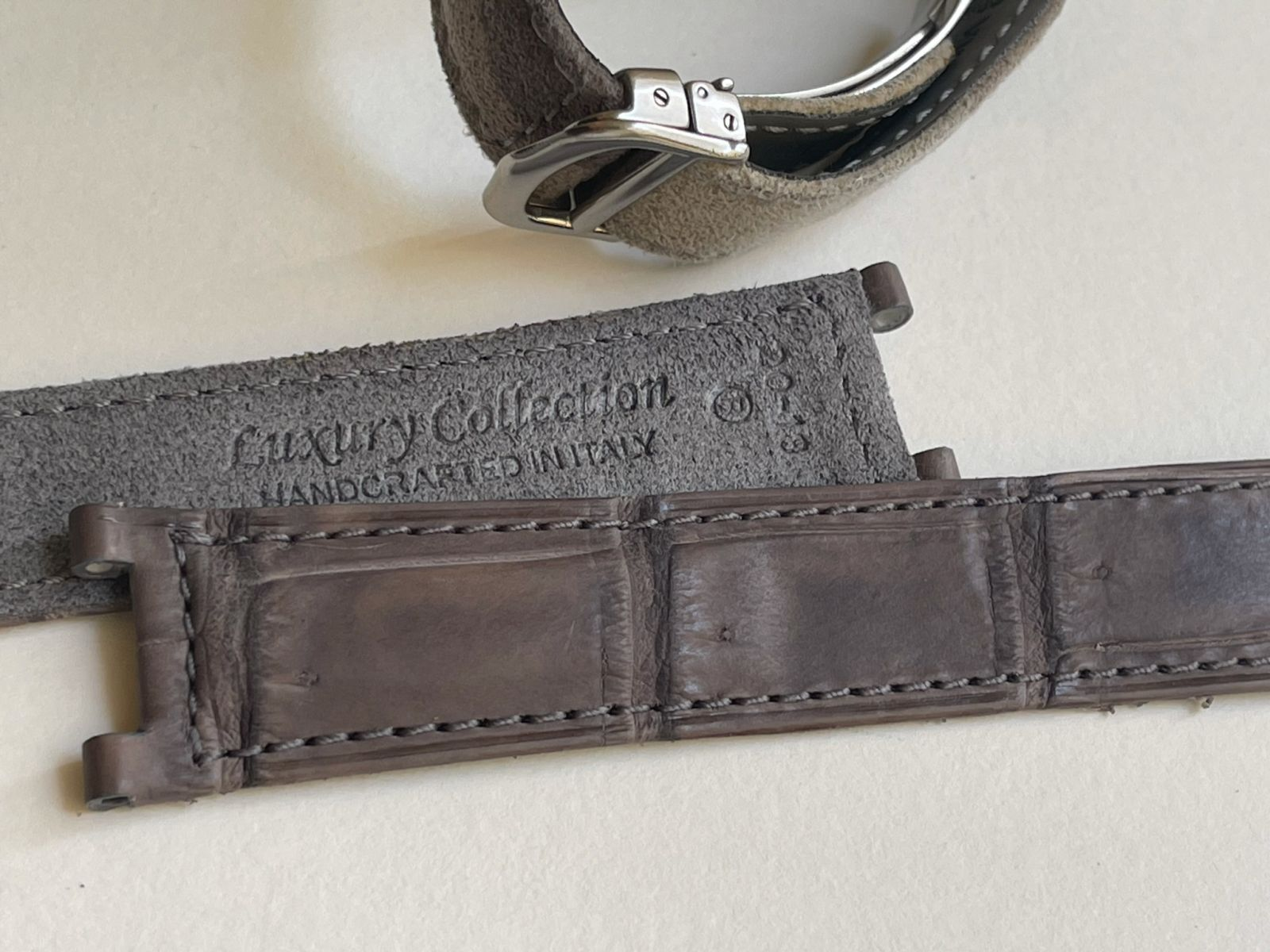 Vintage Grey Stone Matte Alligator leather strap 20mm for Cartier Pasha 35mm case timepieces