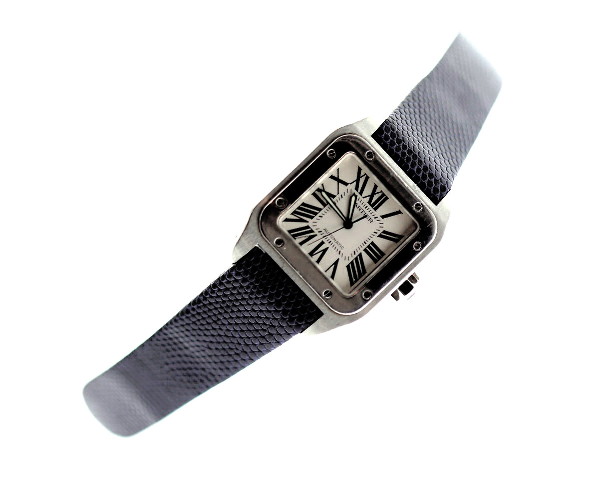Exotic Shiny Blue Petrol Lizard Leather strap for Cartier Santos 100 XL