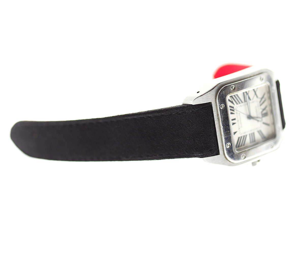 Black Italian Alcantara strap for Cartier Santos 100 XL