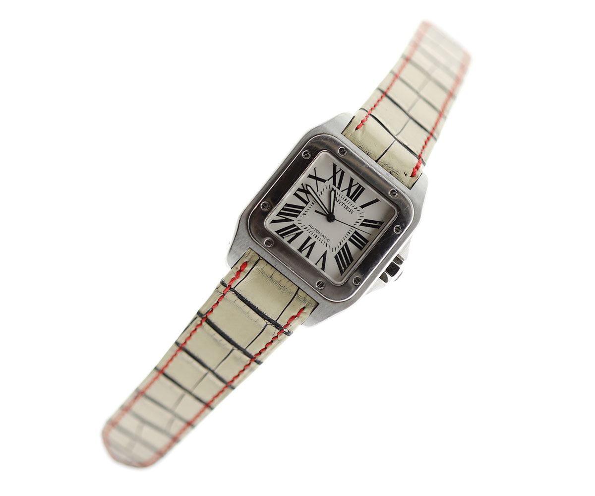 Rare White Vintaged Alligator Leather Strap for Cartier Santos 100. Red stitching