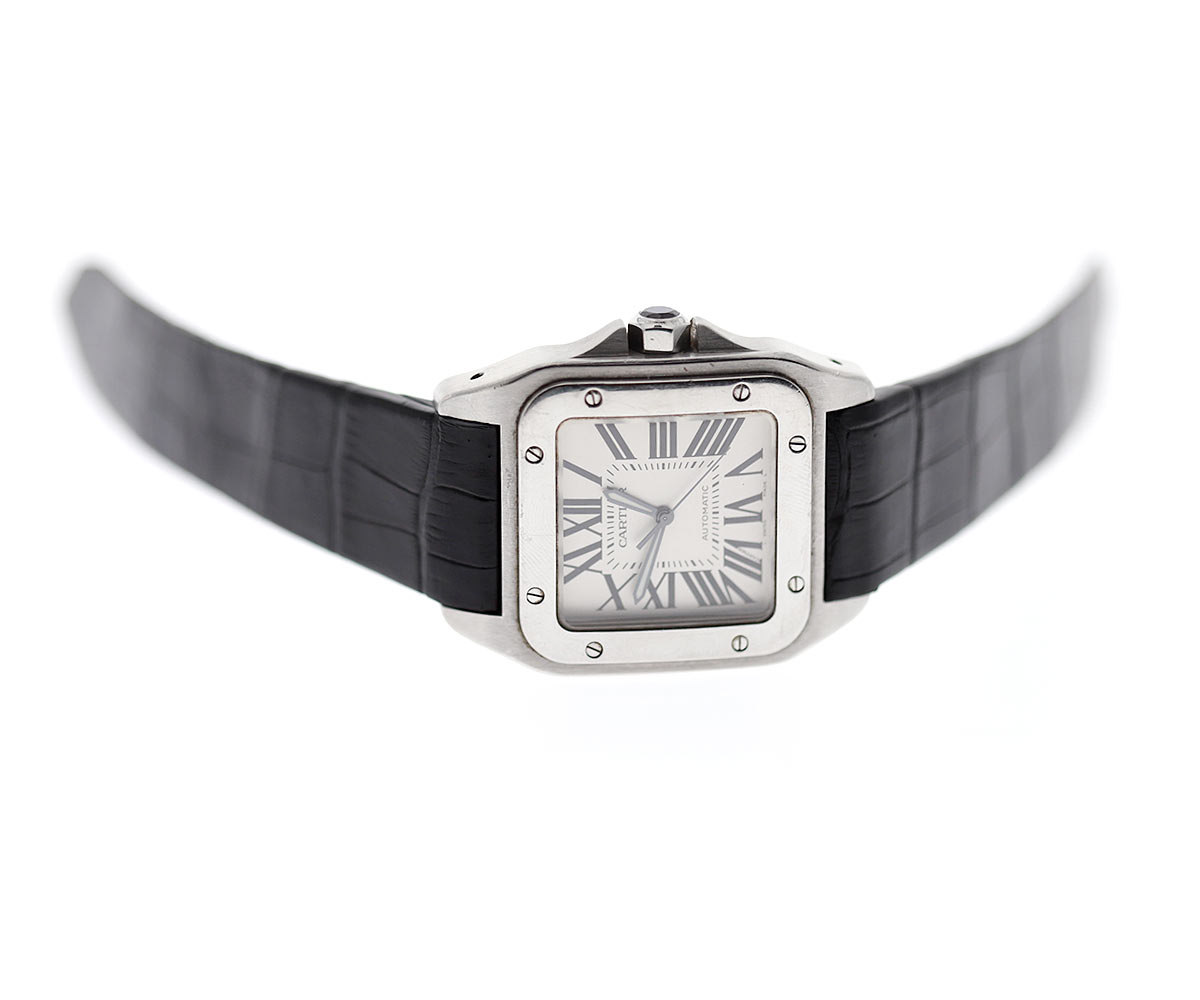Black Matte Alligator Leather strap for Cartier Santos 100 XL