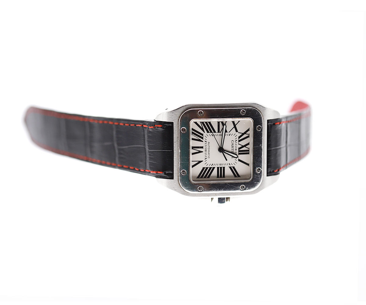 Black Matte Alligator Leather strap for Cartier Santos 100 XL. Red stitching