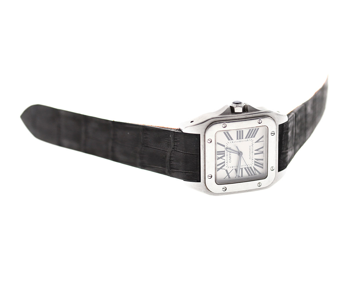 Black Nubuck Alligator Leather strap for Cartier Santos 100 XL