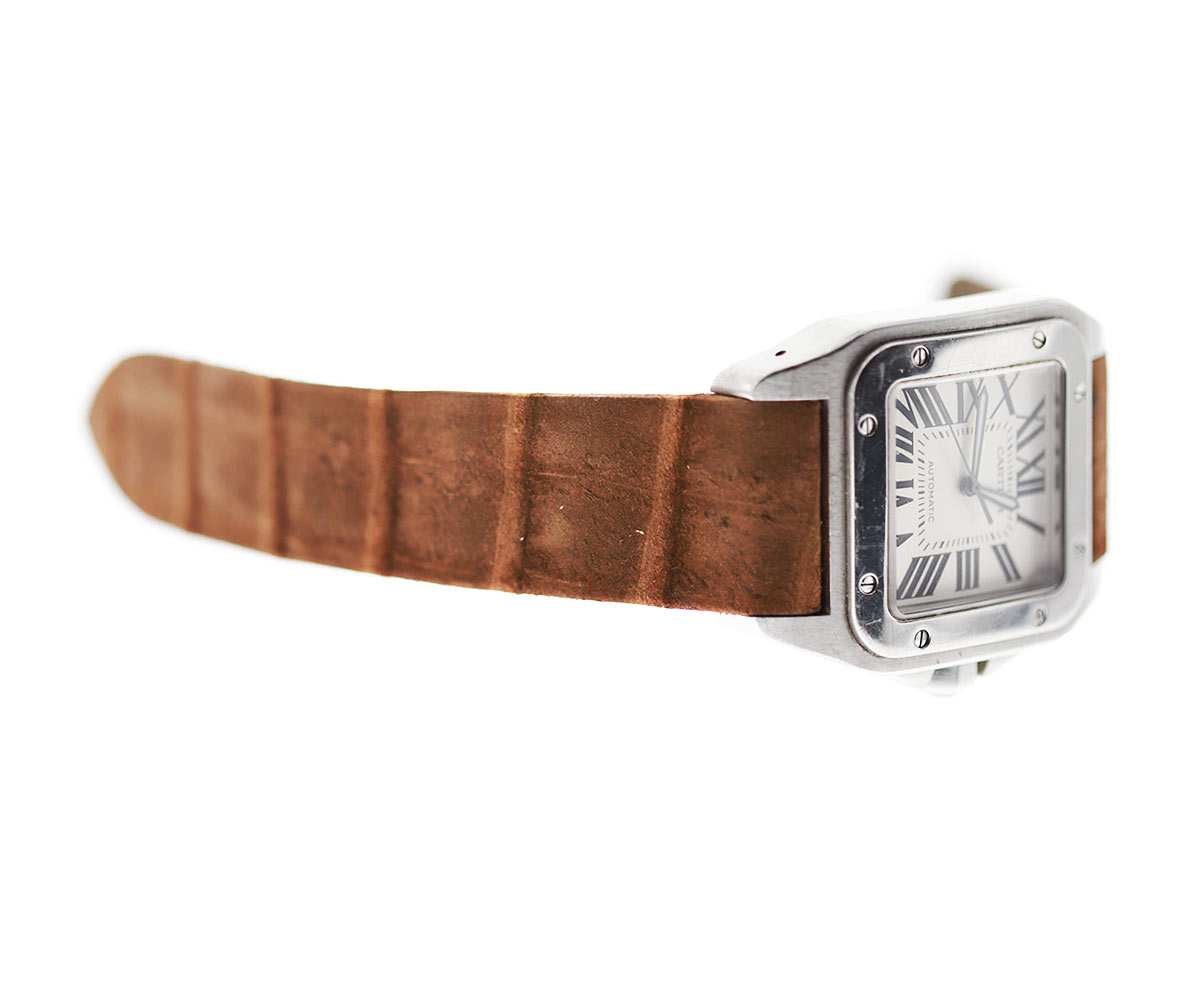 Coffee Brown Nubuck Alligator Leather strap for Cartier Santos 100 XL