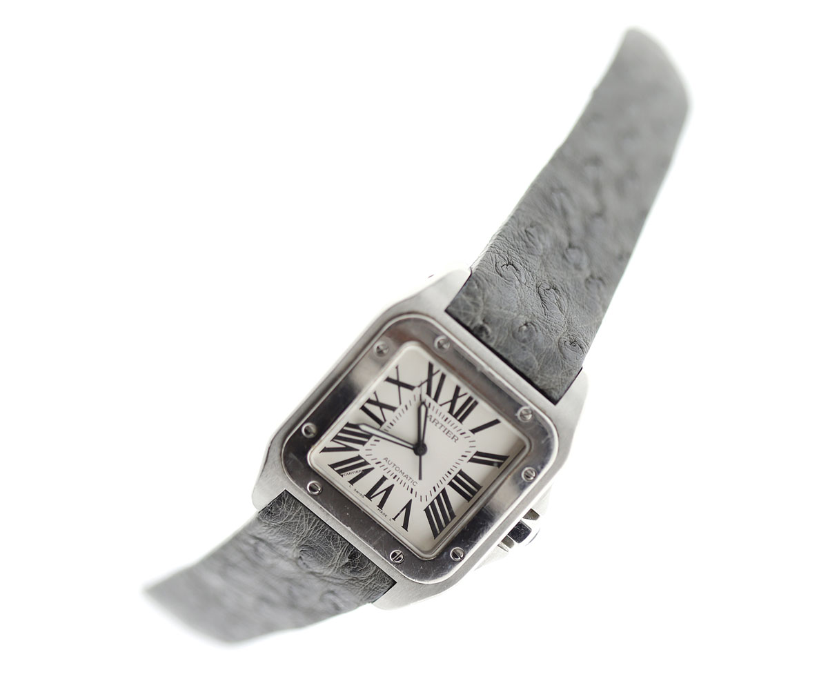 Exotic Grey Camo Ostrich Leather strap for Cartier Santos 100 XL