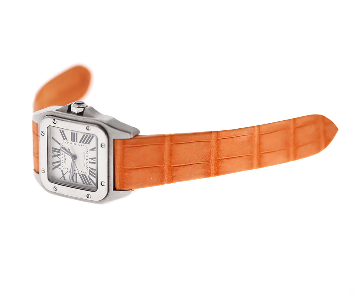 Orange Nubuck Alligator Leather strap for Cartier Santos 100 XL