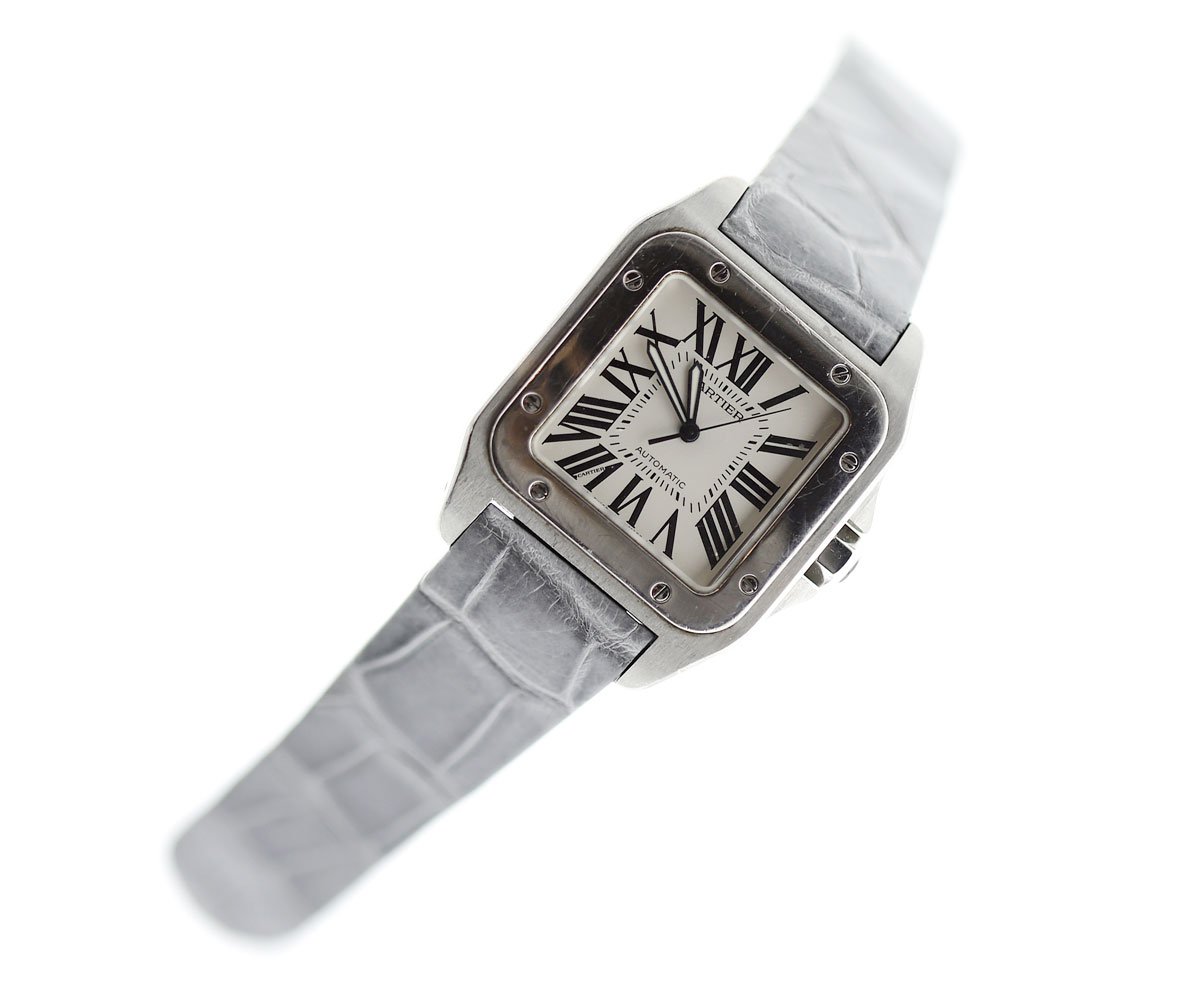 Platinum Grey Strap 23mm in Alligator Leather for Cartier Santos 100 XL