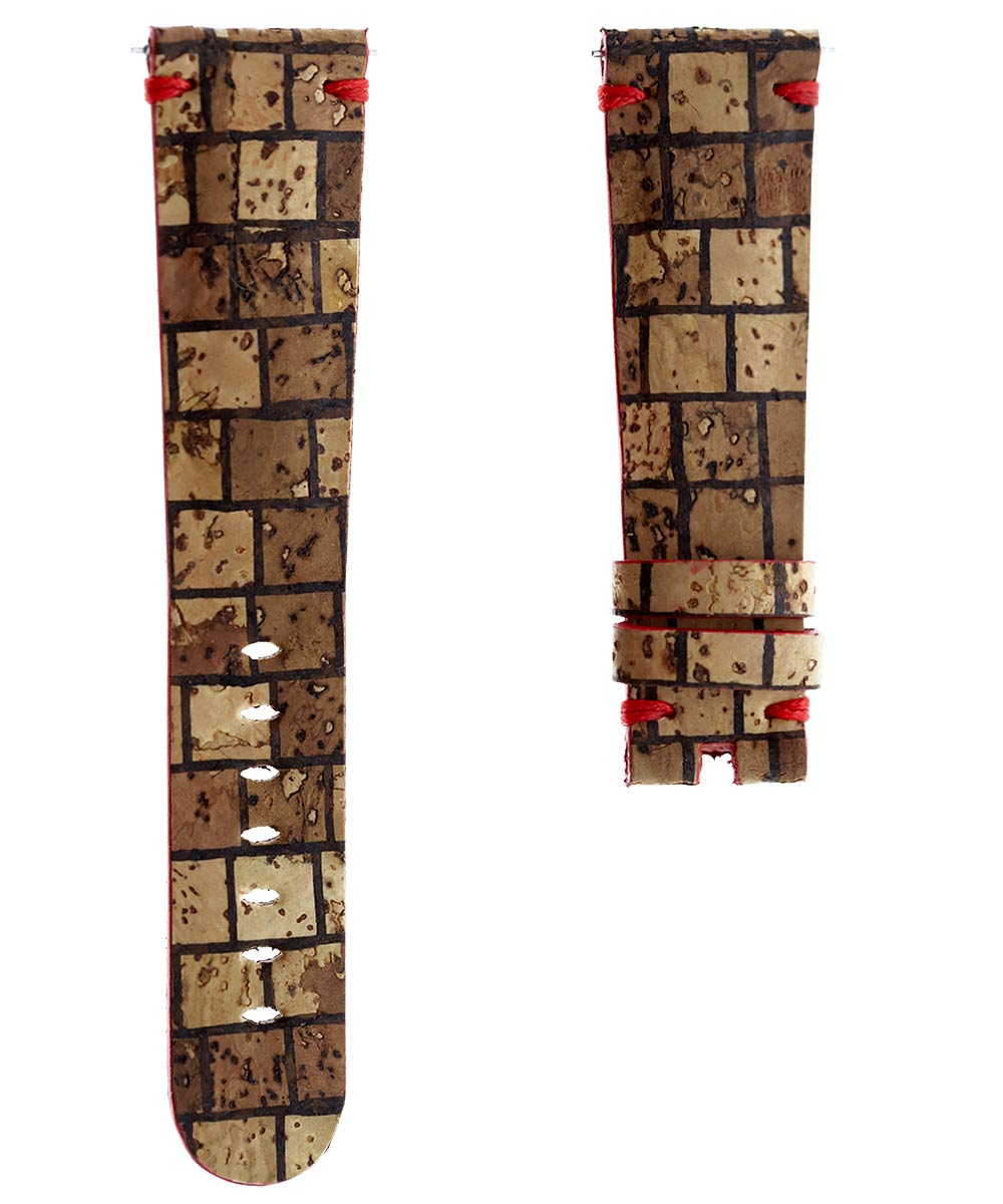 Natural Cork strap 22mm. Vegan style. Chess pattern. Quick Release