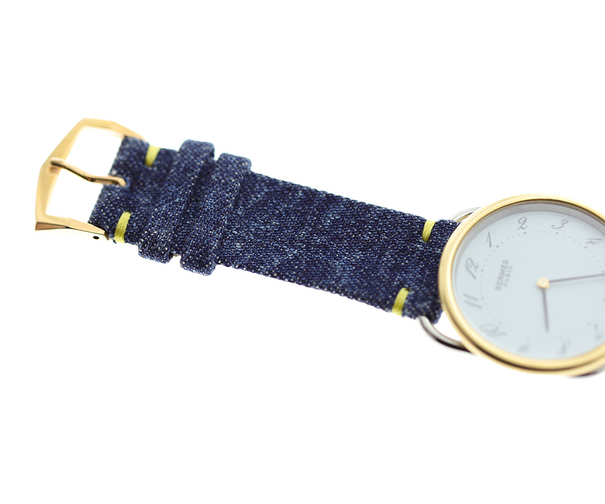 Vegan Japanese Kurabo Denim Strap 18mm. Yellow Presile stitching. Portuguese Cork lining