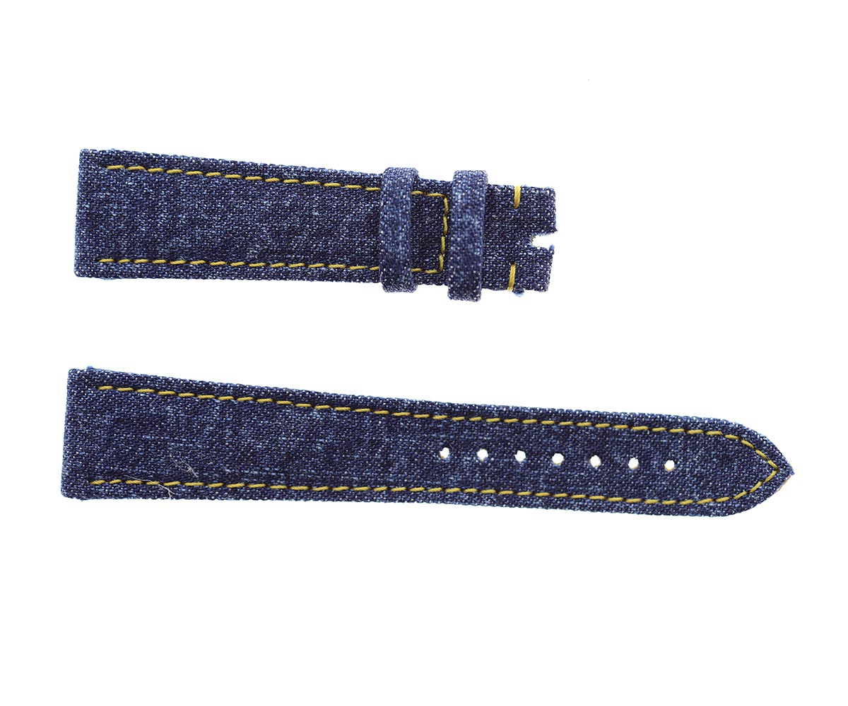 Japanese Denim Watch strap 20mm / Boston / Yellow Stitching